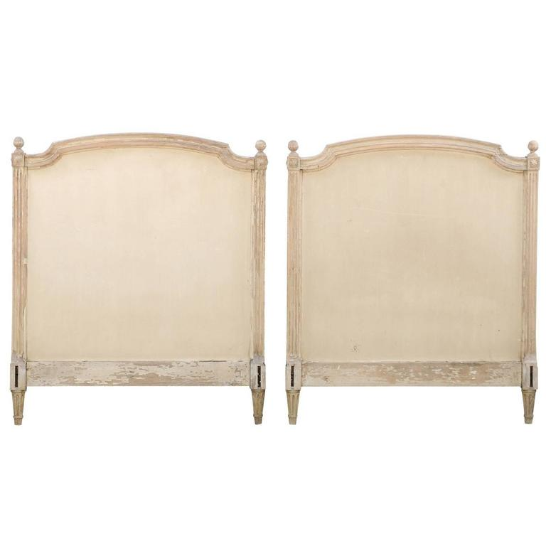 pair of french louis xvi style twin bed striped wood headboards 19th century 1