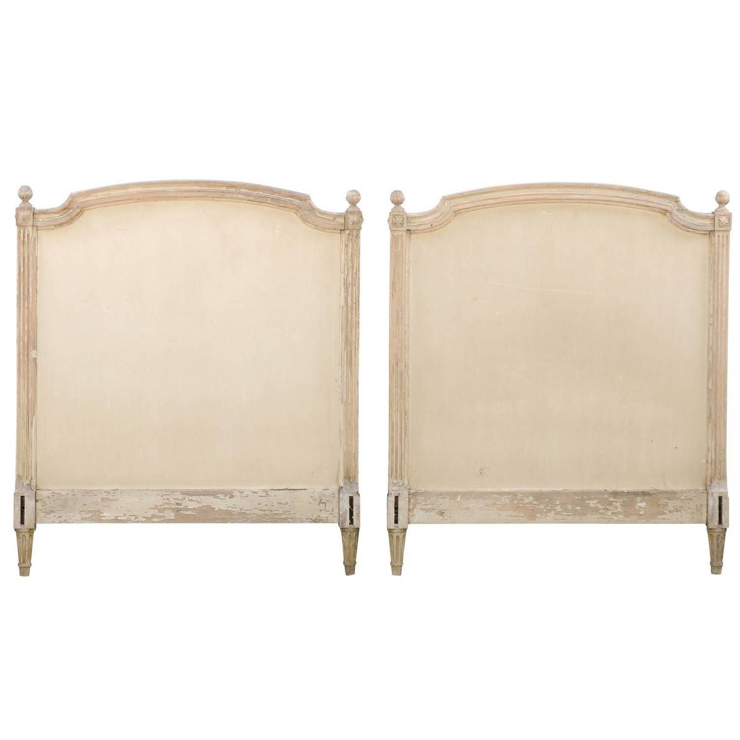 Louis xvi bedroom furniture - Pair Of French Louis Xvi Style Twin Bed Striped Wood Headboards 19th Century