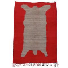 Vintage Berber Moroccan Kilim Rug with Modern Bear Design, Flatweave Kilim Rug