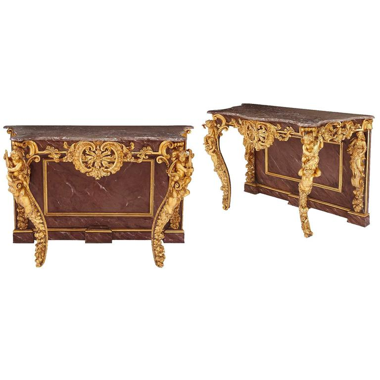 Pair of Rococo Style Gold Giltwood Antique Italian Console Tables
