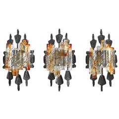 Set of Three Brutalist Wall Sconces by Tom Ahlström & Hans Ehrlich, Sweden