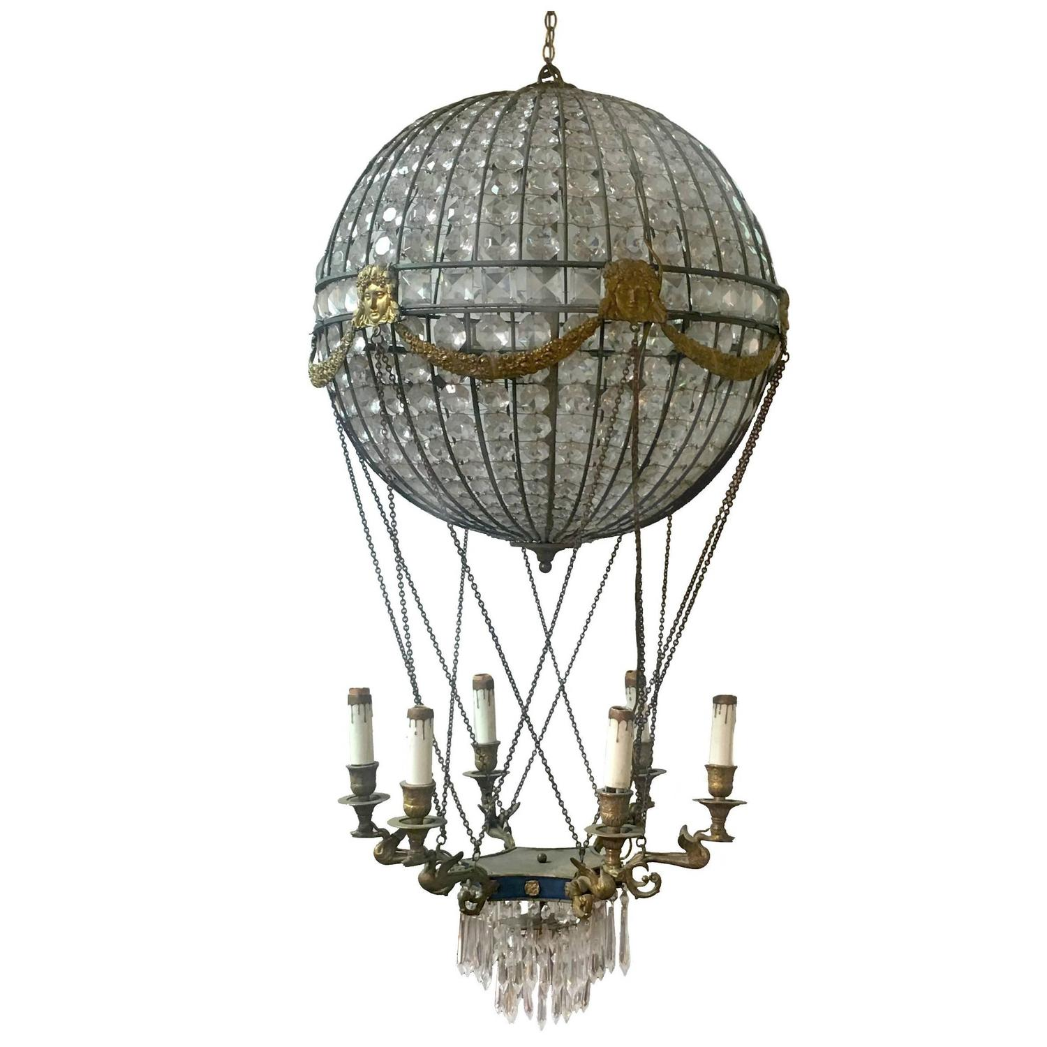 1930s Maison Bagués Beaded Crystal Hot Air Balloon Chandelier at