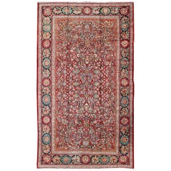 Large Persian Mahal Rug with Multi-Colored Floral Design Set on Red Field