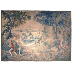Large 18th Century French Aubusson Tapestry with Fishermen, Trees and Castle