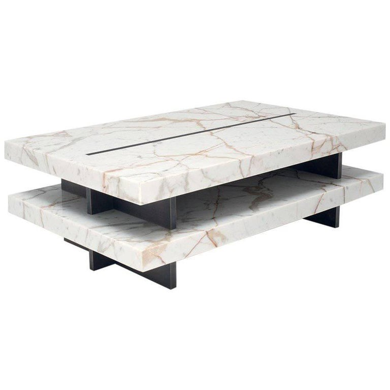 Coffee Table In Calacatta Gold Marble Amp Brass By Stefano