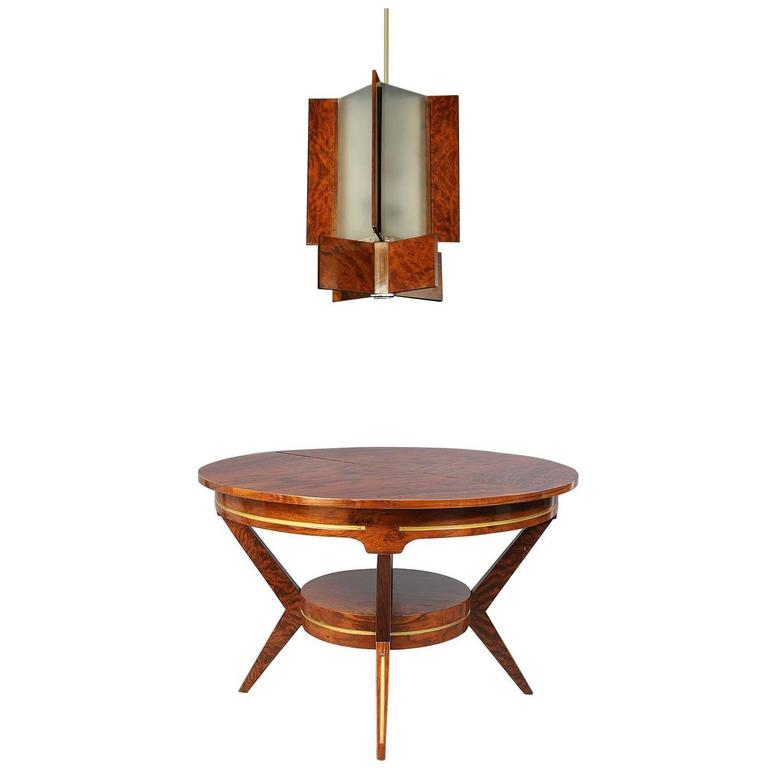 Walnut Mid-Century Modern Dining Table and French Art Deco Style Lantern