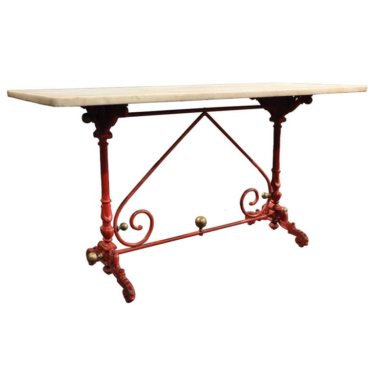 Early 19th Century French Painted Iron Pastry Table with Original Marble Top For Sale