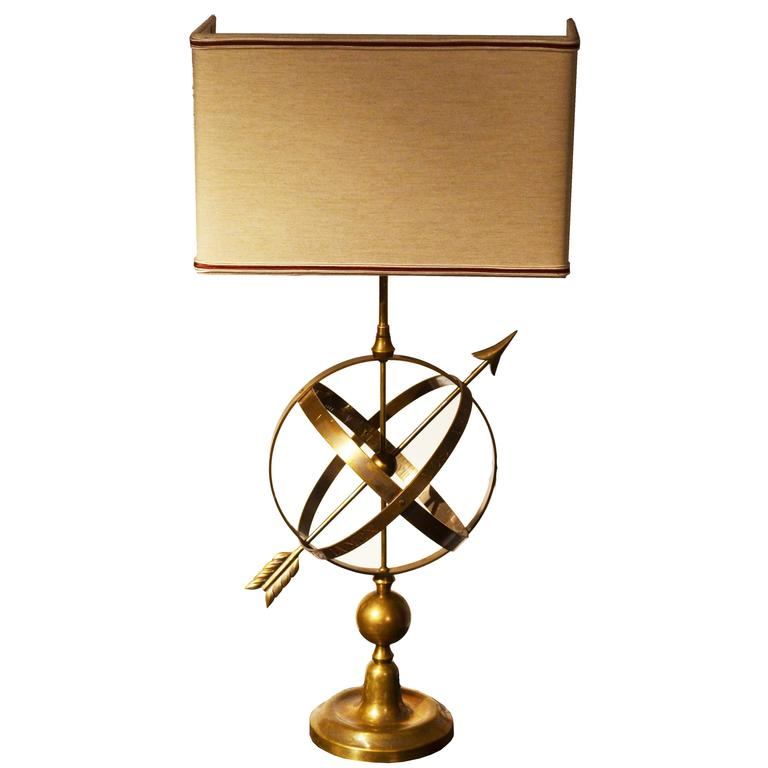 Early 20th Century Golden Brass Sundial Shaped Table Lamp