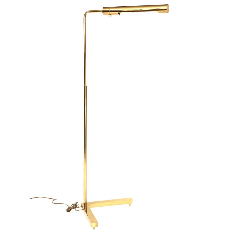 Beautiful Vintage Brass Swivel Floor Lamp by Casella For Sale