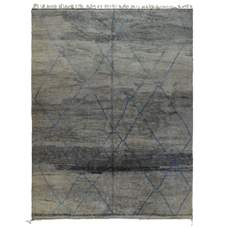 gray moroccan rug with blue lines for sale at 1stdibs