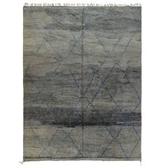 Gray Moroccan Rug with Blue Lines