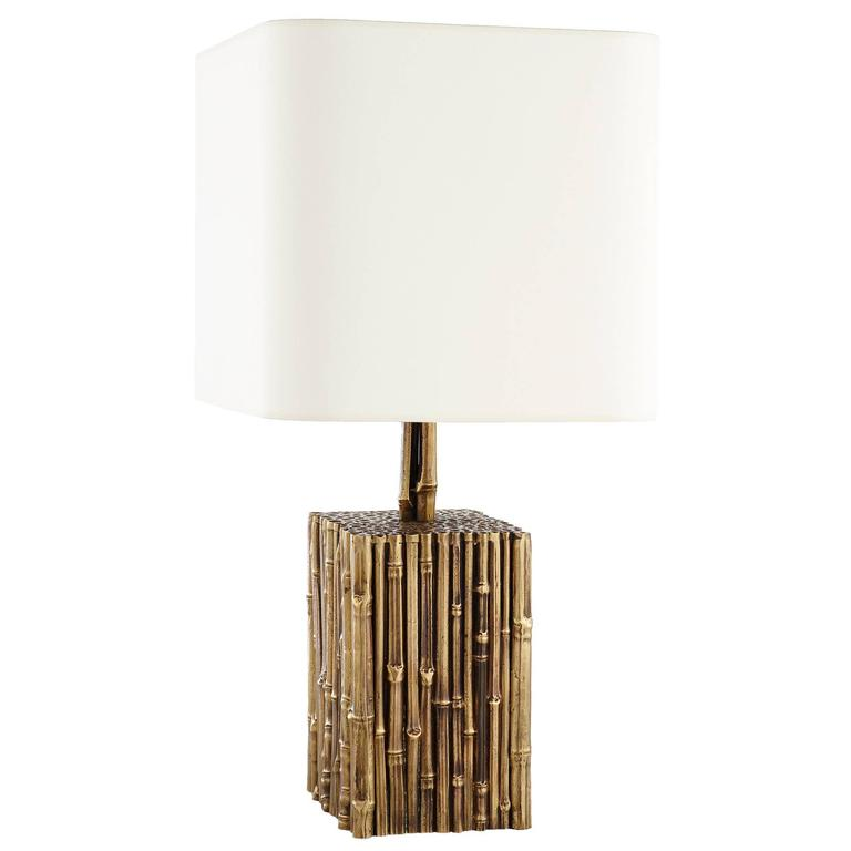 1950s French Brass Bamboo White Shade Table Lamp