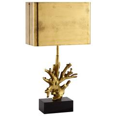 Mid-Century Maison Charles French Bronze Black Marble Coral Table Lamp