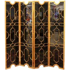 Hollywood Regency Art Deco Black Glass Bronze Folding Screen Room Divider