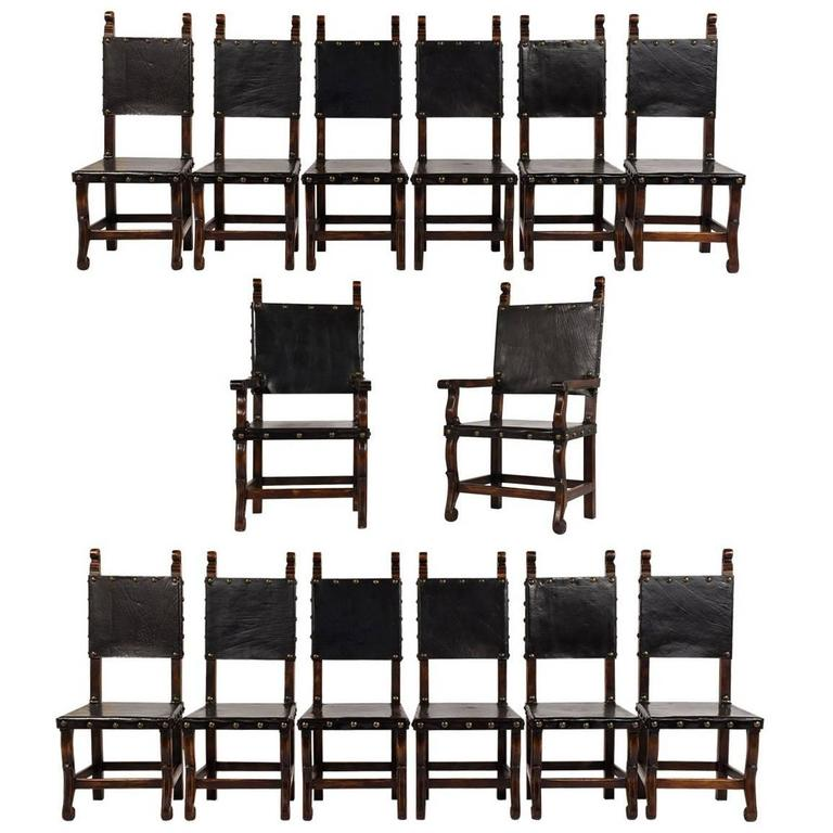 set of 14 spanish colonial style dining chairs for sale at