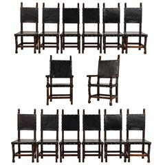 Set of 14 Spanish Colonial Style Dining Chairs