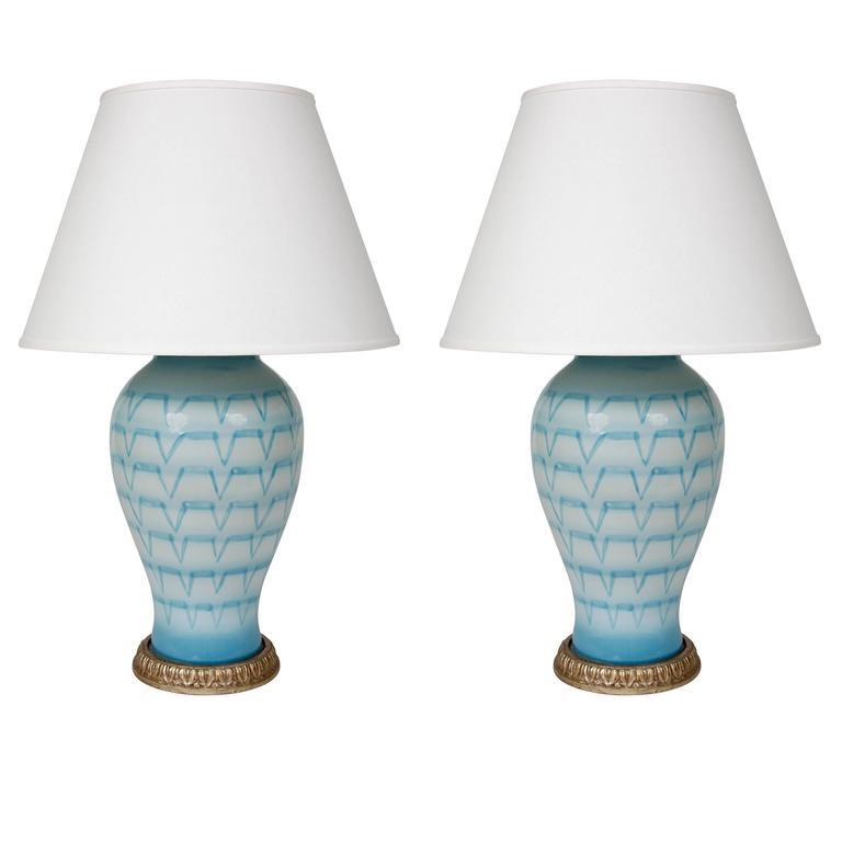 Pair of Blue Ceramic Lamps