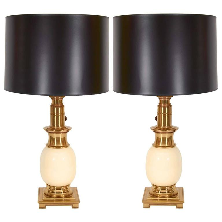 Pair of Stiffel Brass and Ceramic Table Lamps