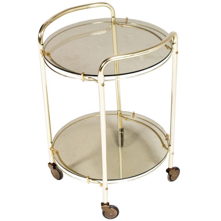 Mid-Century Modern Italian Brass and Smoked Crystal Bar Cart