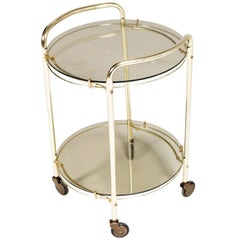 Mid-Century Modern Italian Brass and Smoked Crystal Bar Cart