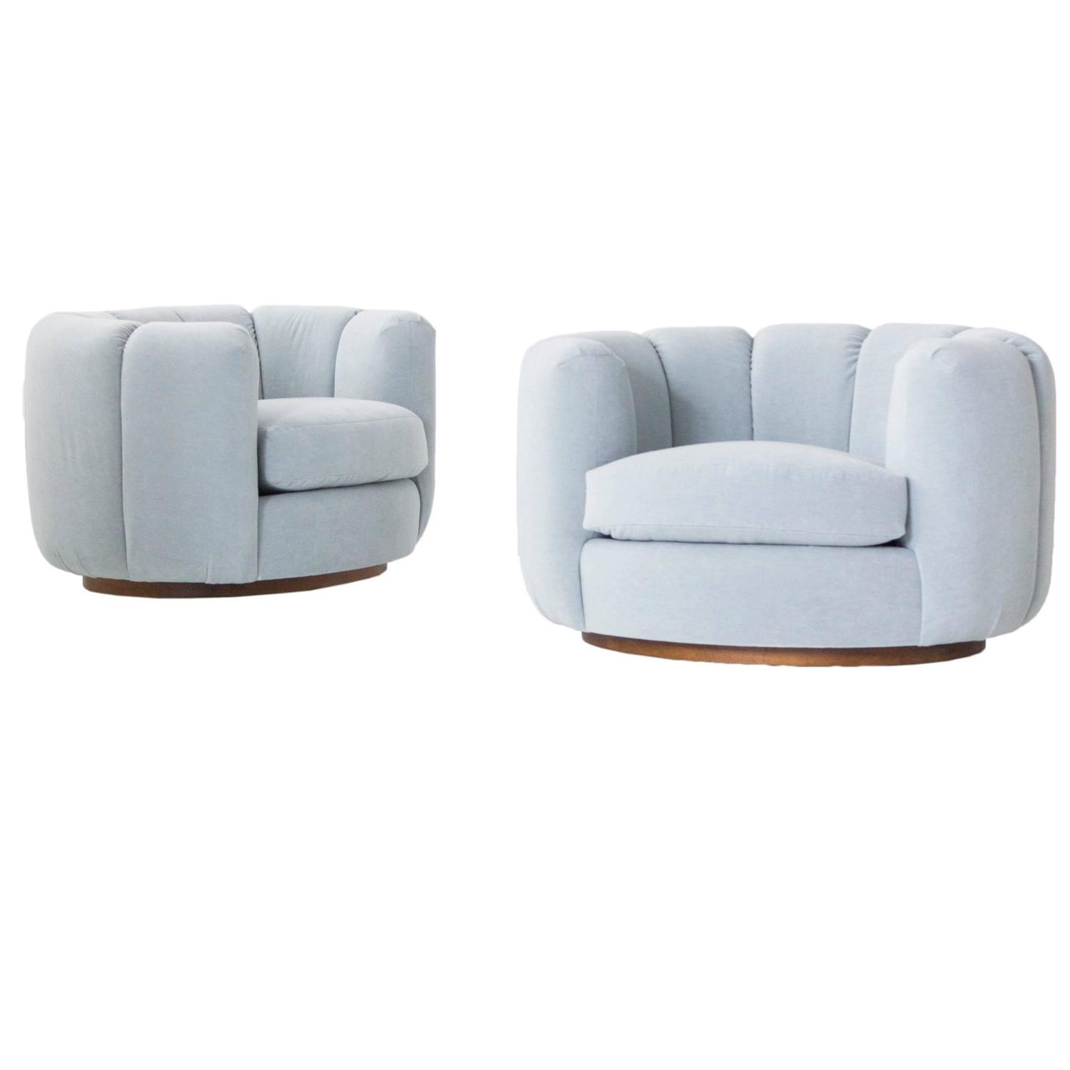 Oversized round swivel lounge chair mid century modern at 1stdibs - Milo Baughman Channel Back Lounge Chairs