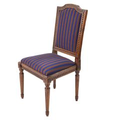 18th Century Louis XVI Walnut Wood Chairs with Blue and Purple Velvet Seats