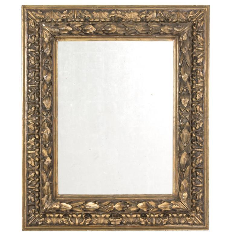 Églomisé Mirror in Leaf Motif Frame