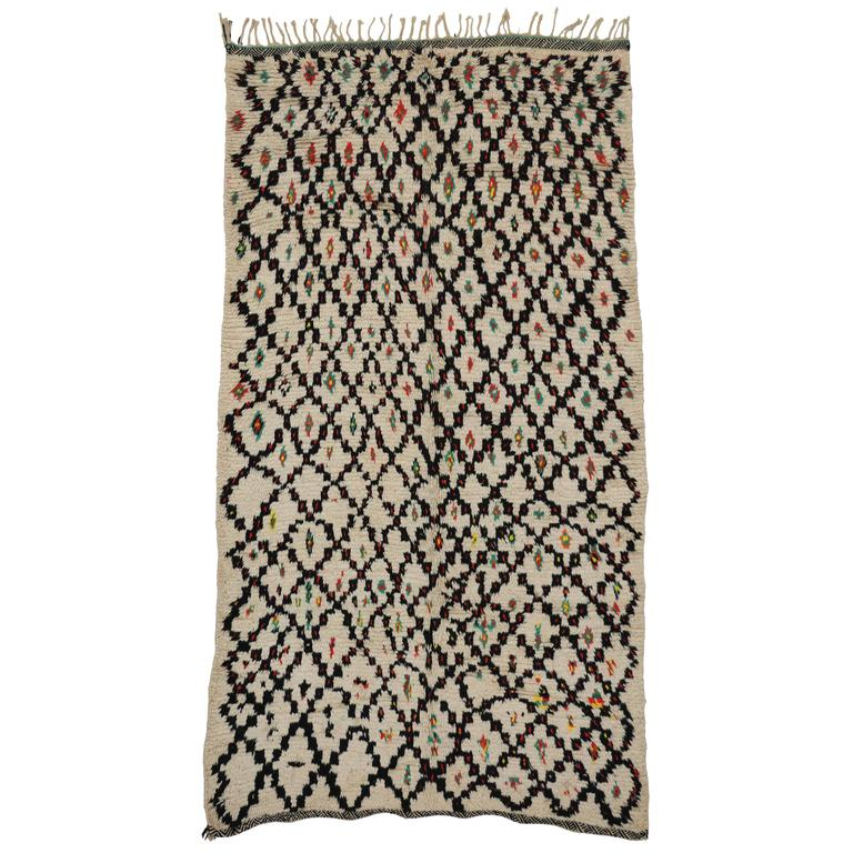 Vintage Berber Moroccan Rug with Modern Tribal Style, Azilal Rug For Sale