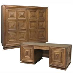 Art Deco Period Grand Oak Desk and Bookcase Set