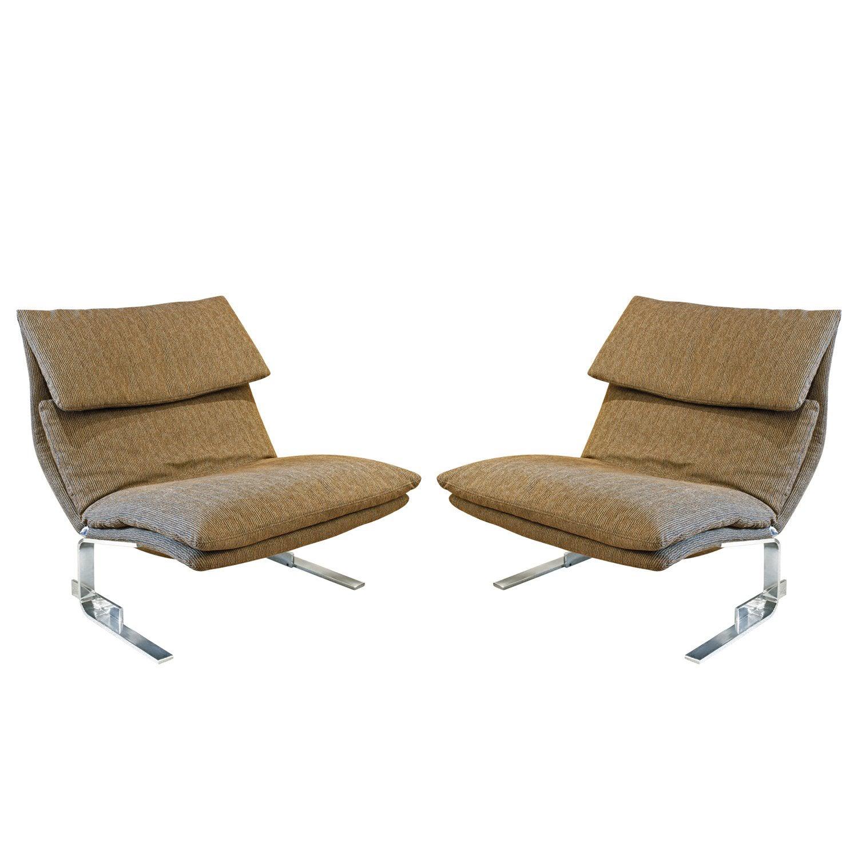 """Saporiti Pair of """"Onda Lounge Chairs"""", 1970s"""