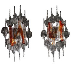Pair of Large Brutalist Wall Sconces by Tom Ahlström & Hans Ehrlich, Sweden