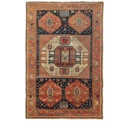 Antique Rugs, Caucasian Carpet Handmade Rust Kazak Rugs for Sale