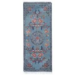 Handmade Antique rugs, Blue Chinese Rug, Handmade Carpet Runner