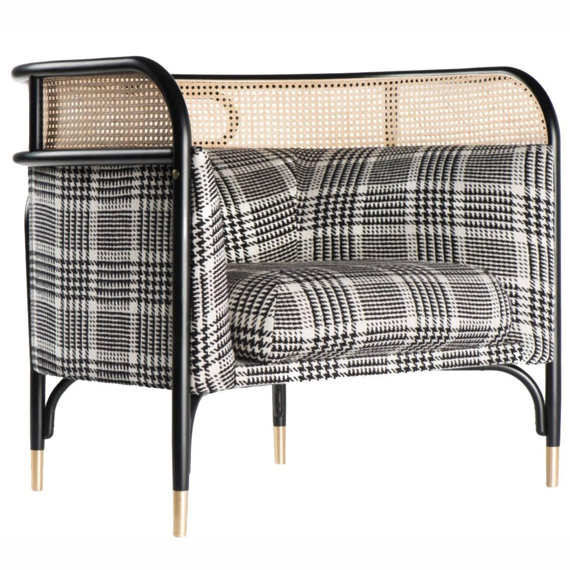 Targa Lounge Chair, Contemporary Lounge Chair with Woven Cane Edge