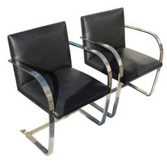 Pair Knoll Studio Flat Bar Brno Chairs Stainless Steel Black Leather