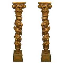 Pair of Antique 19th Century Gilt French Pedestals Highly Carved