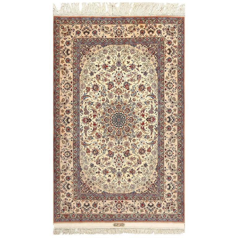 Vintage Ivory Isfahan Persian Rug