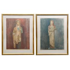 Marie Henriques Pair of Hand Colored Prints Athens Museum Polychrome Sculptures