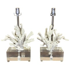 Large Pair of White Coral Motif and Lucite Block Lamps