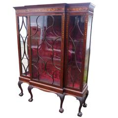 Antique English Marquetry Inlaid Mahogany Chippendale Style Display Cabinet