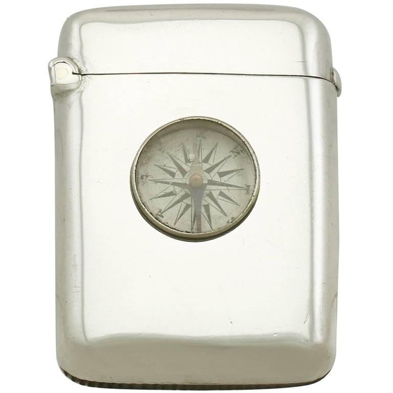 1890s Antique Victorian Sterling Silver Compass Vesta Case For Sale