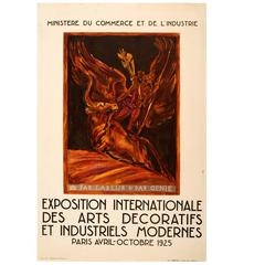 Original Vintage Modern Decorative and Industrial Arts Paris Exhibition Poster