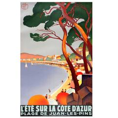 Original Art Deco PLM Railway Poster For Summer On The Cote d'Azur Juan-Les-Pins