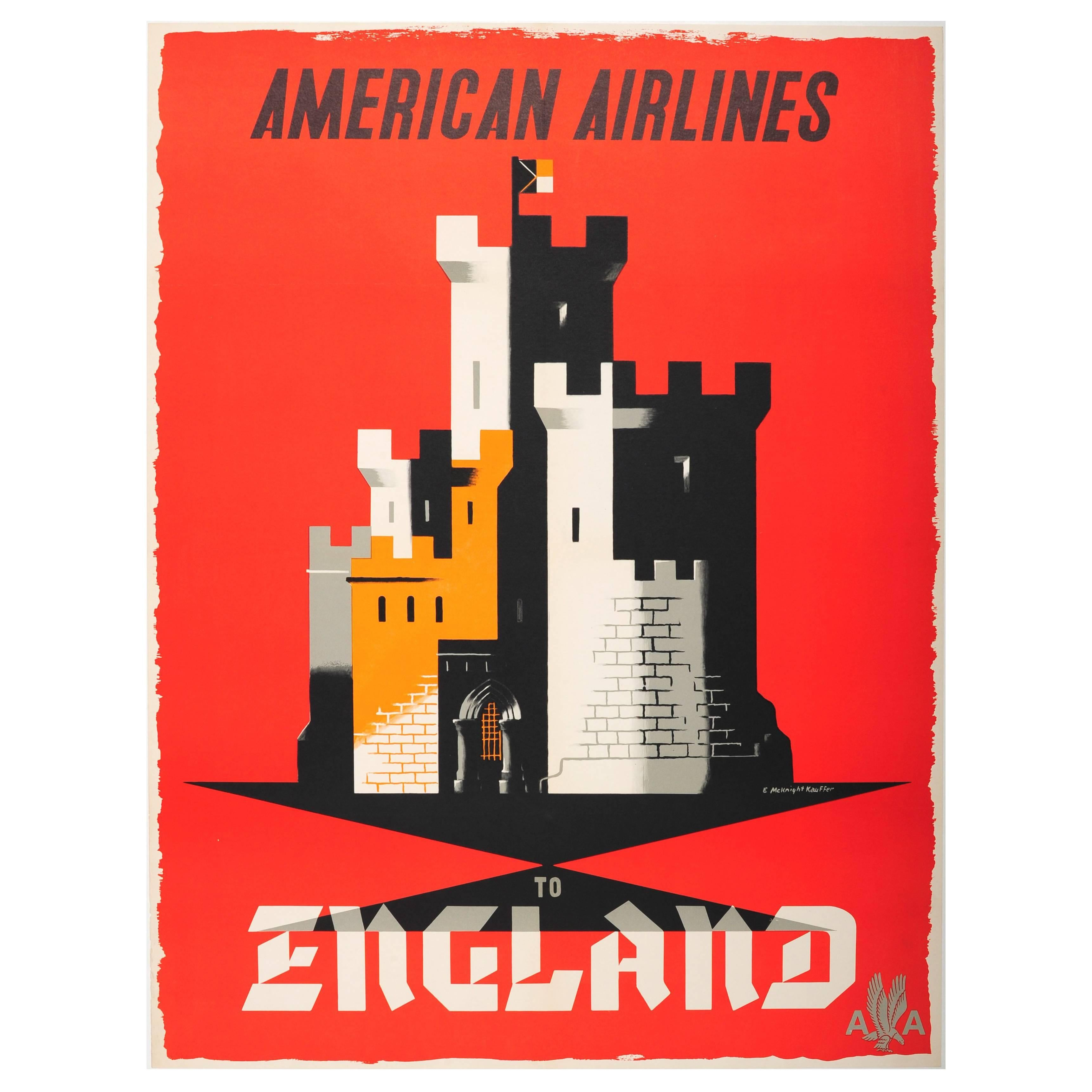 Original Vintage Travel Poster by McKnight Kauffer: American Airlines to England