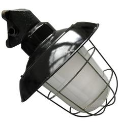 Black Industrial Enamel Cast Iron Wall Lamp Tabor Frosted Glass (7x)