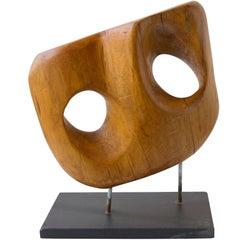 Vintage Wood Sculpture of Great Scale on Steel Base