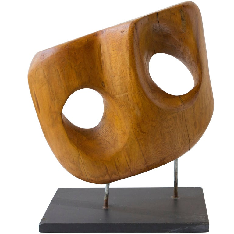 Vintage Wood Sculpture of Great Scale on Steel Base For Sale