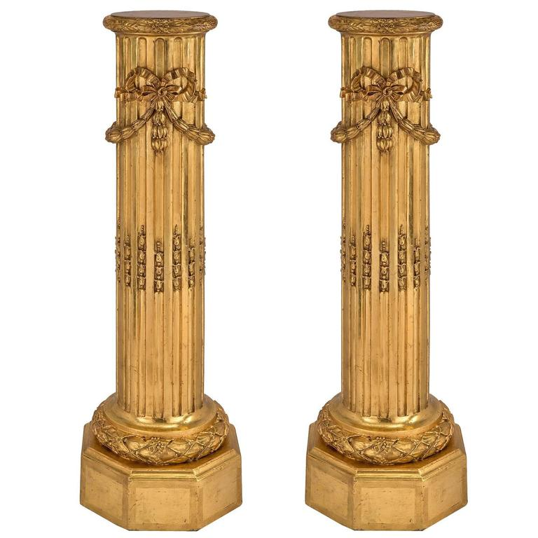 Pair of French 19th Century Louis XVI Style Giltwood Columns For Sale