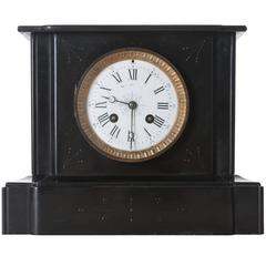 French 19th Century Black Marble Mantle Clock