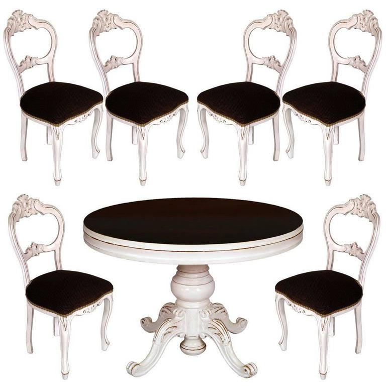 19th century set baroque round table extendable six chairs for Baroque dining table set